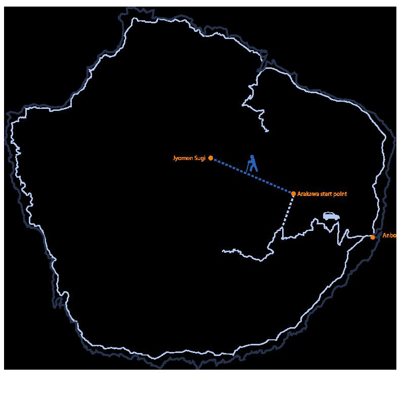 Jyomon Sugi hike itinerary map