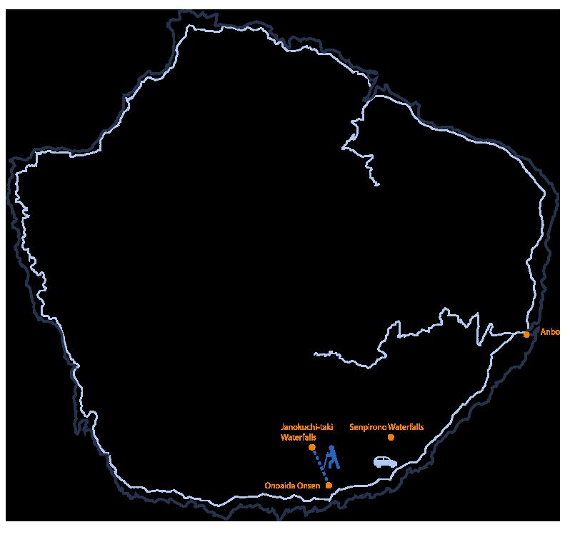Janokuchi Waterfall & Onaida Onsen itinerary map
