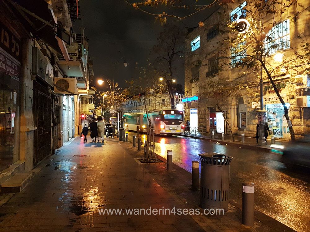 Jerusalem street at night