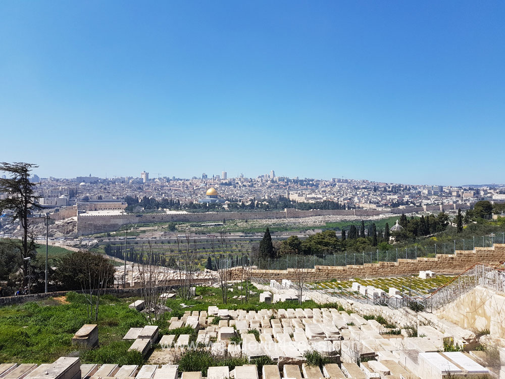 View towards Jerusalem's Old City from Mount Olive