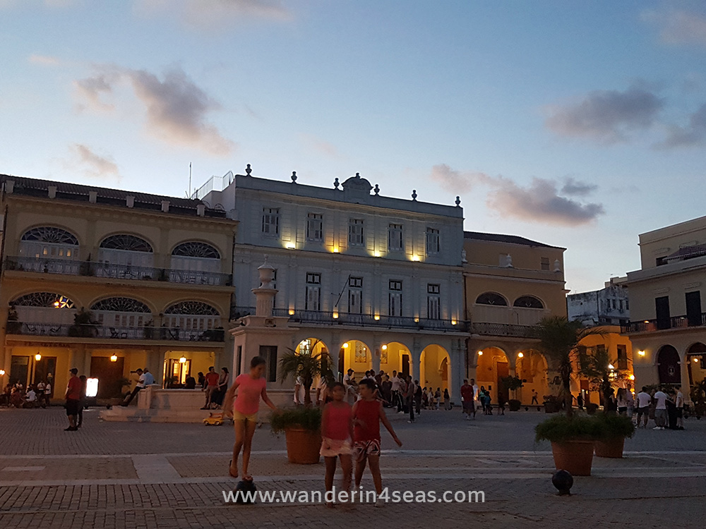Plaza Vieja in the evening
