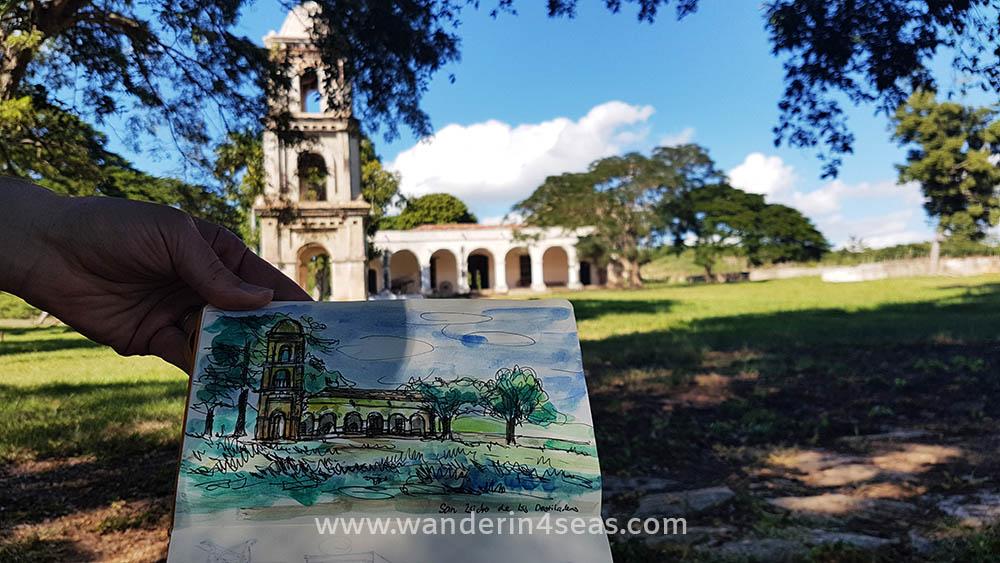 I sketched the watch tower at Ingenio San Isidro de los Destiladeros