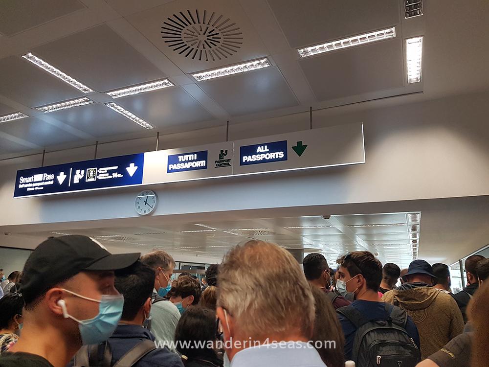 At Milan Malpensa airport in July 2020