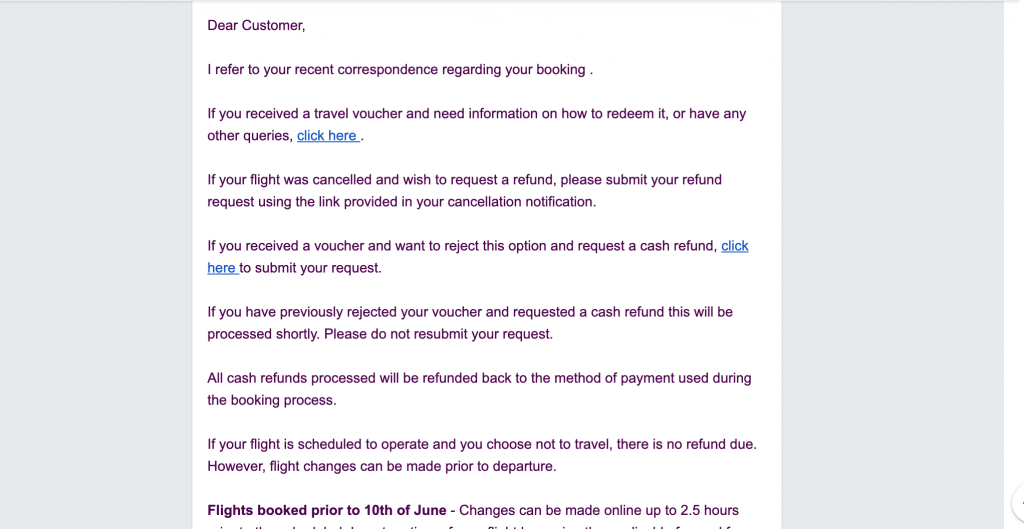 copy-paste response I got from Ryanair regarding my compliant