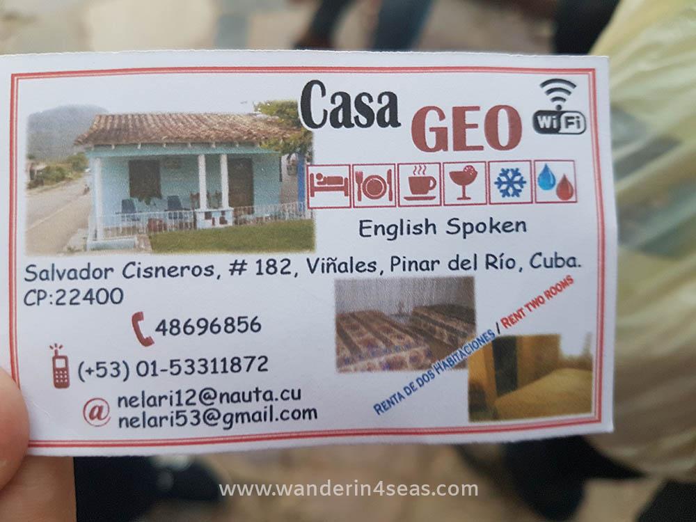 The business card Ariuska give to tourists